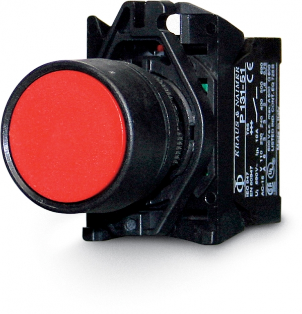 Push button, single pole 1-(0), break, 10 A, red