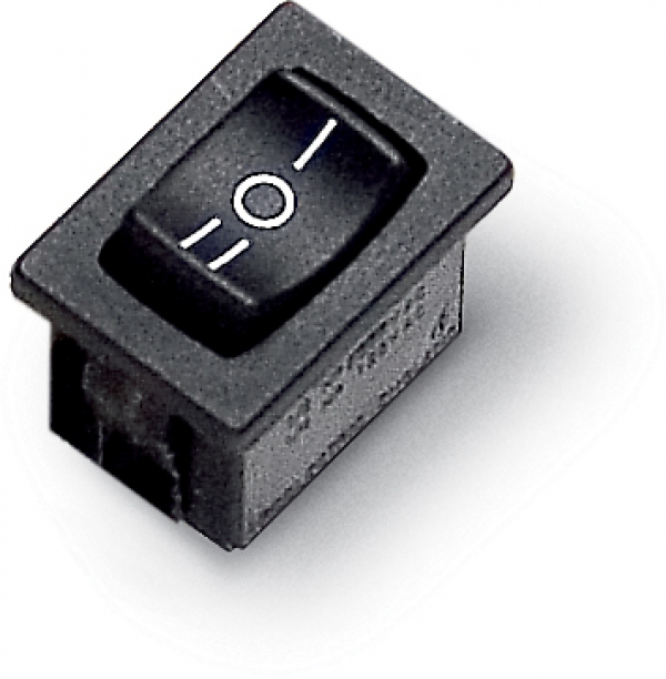 On/off/on rocker switch, single pole 1-0-2, 8 A