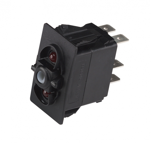 Rocker switch, ON/OFF/ON, red LED
