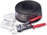 DIY kit: 100 m modular cable, tool and 50 RJ45 plugs