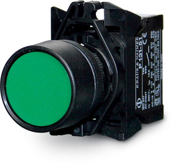 Push button, single pole 0-(1), make, 10 A, green