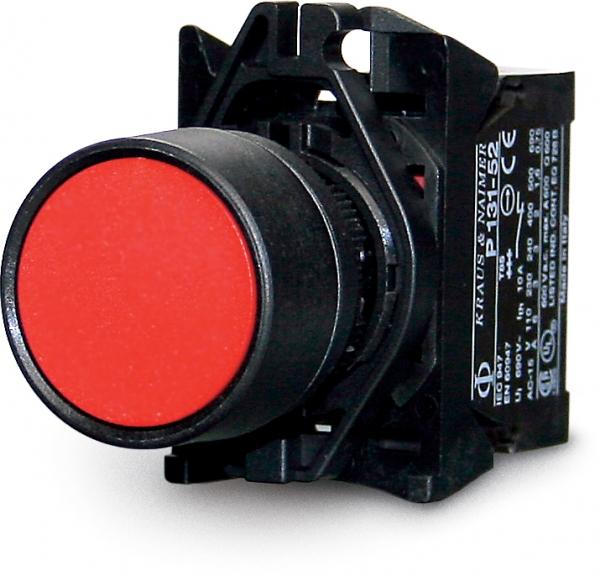 Pulsante unipolaire 0-1, 10 A, rosso