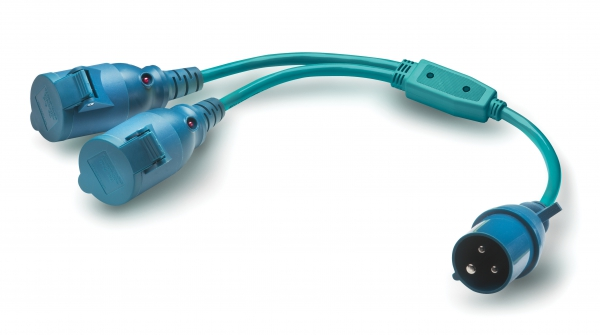 Splitter for CEE plug with current indicator